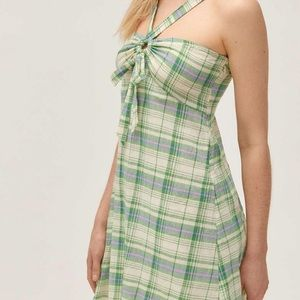 URBAN OUTFITTERS Y-Neck Twist-Front Mini Dress